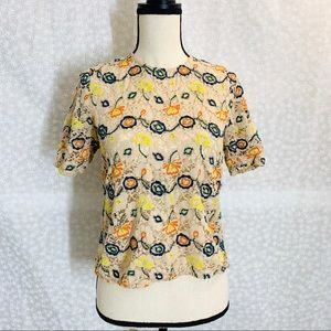 Zara floral embroidered top blouse EUC